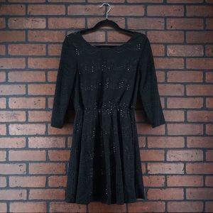 AS U WISH Black Scoop Neck Laser Cut Mini Dress M